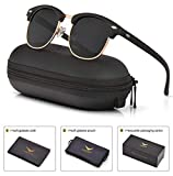 Mens Womens Clubmaster Polarized Sunglasses UV 400 Black Lenses Matte Black Frame 51MM,
