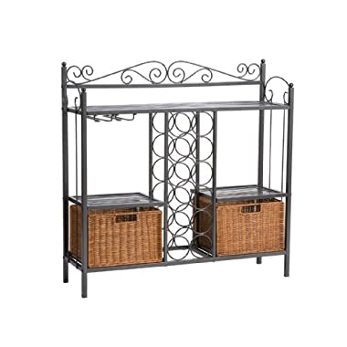 Celtic Bakers Rack w/ Wine Storage - Gunmetal Gray