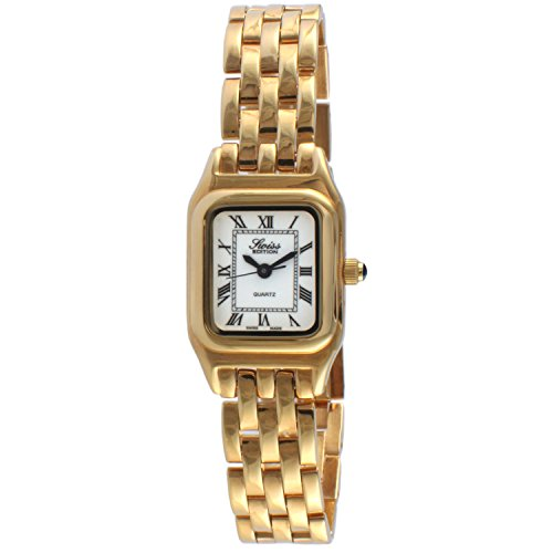 Swiss Edition Women's Square Tank Luxury 23K Gold Plated White Roman Numeral Dial Dress Watch SE3802-G by Swiss Edition