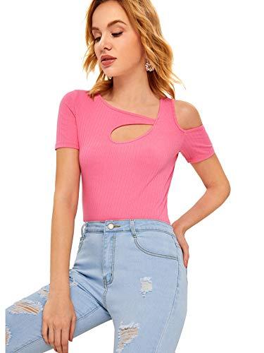 - SheIn Women's Cutout Short Sleeve Open Shoulder Ribbed Knit T-Shirt Top X-Large Pink