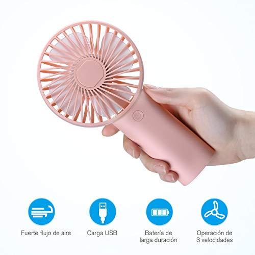 isYoung Mini Ventiladores de Mano - Ventilador Portátil USB con Batería Recargable 4000mAh Ventiladores con 3 Velocidades de 8-18 Horas de Tiempo de Trabajo para Oficina Hogar Viajes Exterior(Rosa)