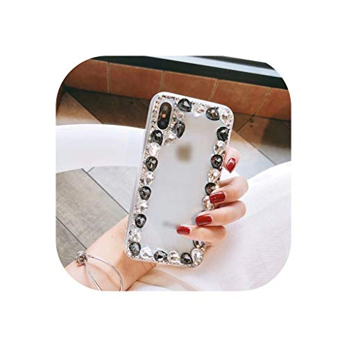 Mobile Bling Lovely Crystal Diamonds Rhinestone Phone Case for iPhone 6 6S 7 8 Plus X XS MAX XR Big Stones Fashion Shell,Black,for iPhone 7 Plus