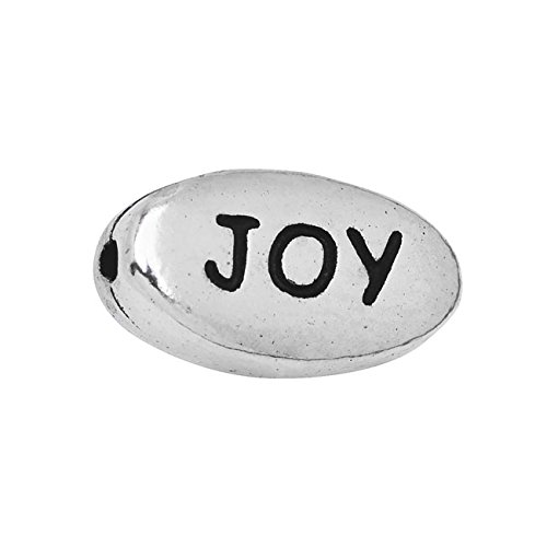 Rhodium Plated Pewter Message Beads Joy 10.5mm (2)