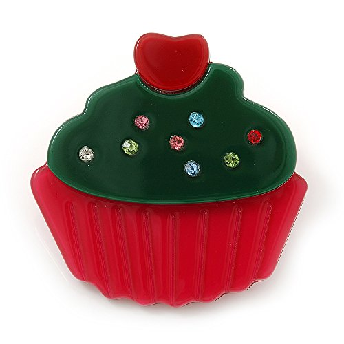 Cupcake Brooch (Magenta/ Dark Green Austrian Crystal Acrylic 'Cupcake' Pin Brooch - 40mm Across)
