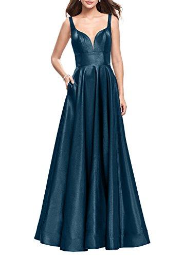 Abendkleider La Kleider A 2 Brau Elegant mia Blau Zwei Dunkel Ballkleider Satin Jugendweihe Partykleider Traeger Abschlussballkleider Linie qC7CrYwxz