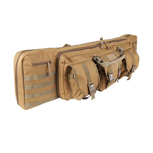 (LUVODI Double Rifle Case 42 Inch Soft Padded Tactical Carbine Gun Bag Pistol Airsoft Sniper Shotgun Long Gun Backpack Firearm Military Transportation Lockable Carry Bag with Magazine Pockets)