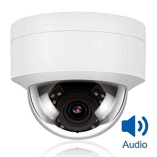 Anpviz 5MP PoE IP Dome Camera with Microphone, Audio, IP Security Camera Outdoor Night Vision 98ft Weatherproof IP66 Indoor Outdoor ONVIF Compaliant Wide Angle 2.8mm, IPC-D250W-S