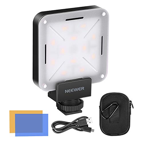 Neewer Mini LED Video Light Pocket-Size On-Camera Video Light 12-Piece LED Lighting CRI 95+ with Built in Battery, Hot Shoe Adapter and Carry Bag for Canon Nikon Sony and Other DSLR Cameras -