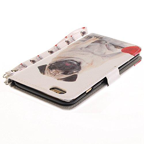 Funda iPhone 6/6S 4.7 pulgadas,SainCat Funda de cuero sintético tipo billetera con correa de cordón de Suave PU Carcasa Con Tapa y Cartera,Ranuras para Tarjetas y Billetera Funda de Flip Ranuras Tarje Perro pug