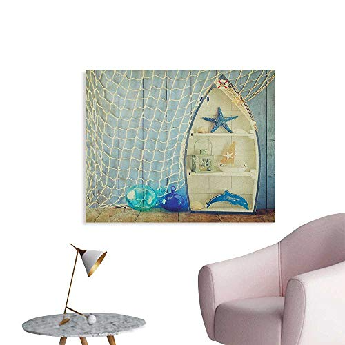 Anzhutwelve Nautical Wall Sticker Decals Nautical Boat Standing Against The Wall Other Aquatic Objects Sea Featured Picture Poster Paper Blue Beige W32 xL24]()