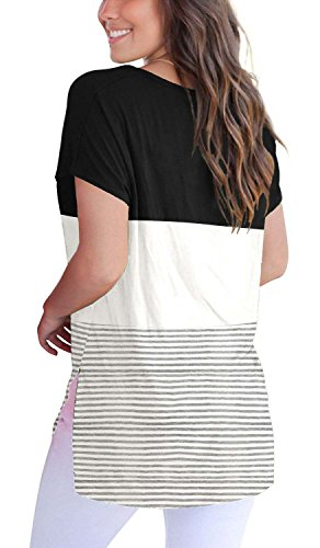 Womens-Short-Sleeve-V-Neck-Triple-Color-Block-Stripes-Casual-Summer-T-Shirts