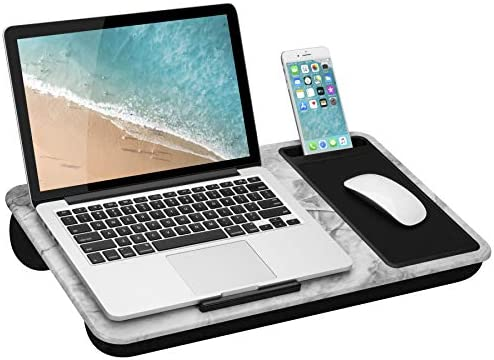 LapGear Home Office Lap Desk with Device Ledge, Mouse Pad, and Phone Holder – White Marble – Fits Up To 15.6 Inch Laptops – style No. 91501