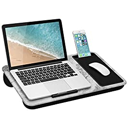 LapGear Home Office Lap Desk with Device Ledge, Mouse Pad, and Phone Holder – White Marble – Fits Up To 15.6 Inch…