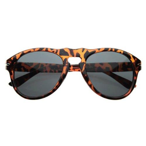 zeroUV - Vintage Inspired P-3 Round Horn Rimmed Sunglasses (Tortoise Shell) (Plastic Shell Tortoise)