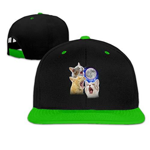 Jskllyhu Rock Punk Baseball Cap Three Cats Moon Unisex Trucker Hat Hip-Hop Snapback Green