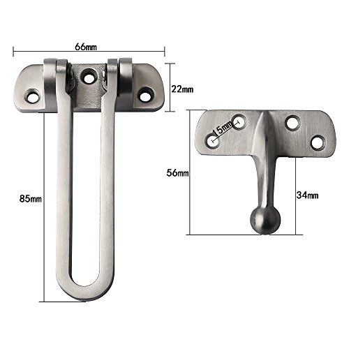 Alise SUS 304 Stainless Steel Gate Latches Swing Bar Door Guard Burglar-Proof Padlock Door Clasp,MS550 Brushed Finish by Alise (Image #1)