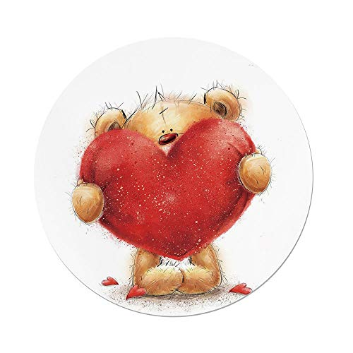 ecloth,Bear,Valentines Day Inspired Sweet Teddy Bear Holding a Big Red Heart Love Romance Decorative,Sand Brown Red,Dining Room Kitchen Picnic Table Cloth Cover,for Outdoor Indoor ()