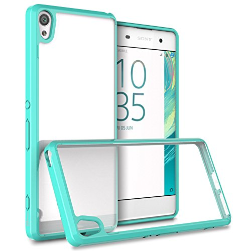 Sony Xperia XA Case, CoverON [ClearGuard Series] Hard Clear Back Cover with Flexible TPU Bumpers Slim Fit Phone Cover Case for Sony Xperia XA - Teal