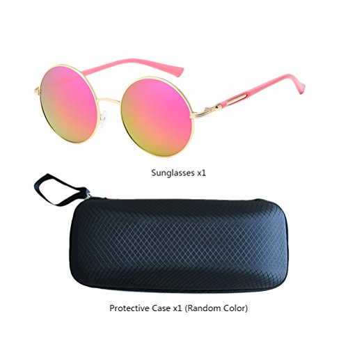 estuche Unisex Womens Frames amp;pink Sunglasses Mirror Polarized de Design for Oversized Gold Fashionable Mens gafas Zhuhaitf Con Round ZqWEnUwnv