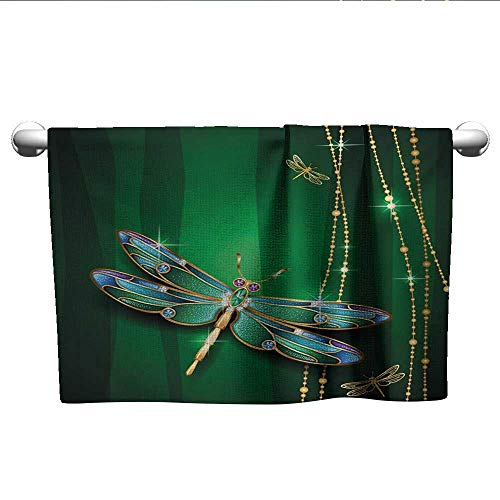 xixiBO Bath Towels for Sale W10 x L10 Dragonfly,Vivid Figures in Gemstone Crystal Diamond Shapes Graphic Artsy Effects,Gold Hunter Green Ladies Towel
