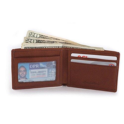 - Osgoode Marley Ultra Mini Leather Billfold Wallet with I.D. Window (Brandy)