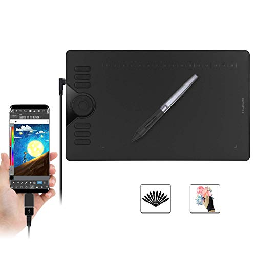 Huion HS610 Graphics Drawing Tablet with Touch Ring and 28 Express Keys, Battery-Free Stylus, 8192 Pressure Sensitivity, Compatible with Mac, PC or Android Mobile (Phone With Best Graphics)