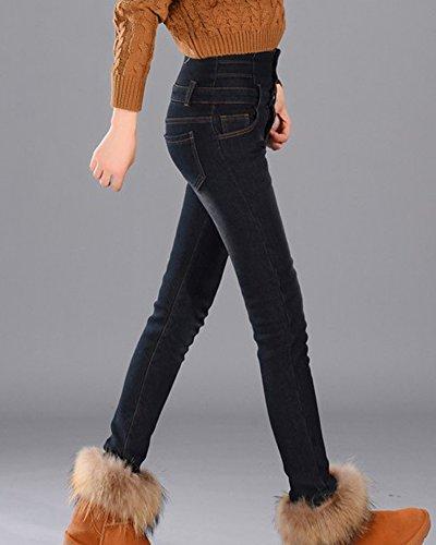 Gris Vaqueros Cintura Elasticos Jeans Pantalones Mujer Skinny Negro Alta wYESq7x8