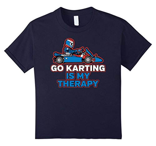 Childrens Go Karting - Kids Go Karting Is My Therapy Shirt 6 Navy