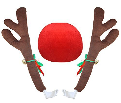 Goodybuy Christmas Car Costume Decoration Plush Rudolph Reindeer Antlers & Red Nose Set, 45cm Tall (Rudolph Antlers)