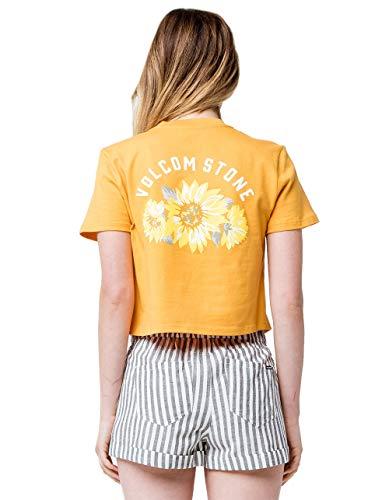 Volcom Daisy Nights Crop Pocket Tee, Yellow, X-Small (Crop Daisy)