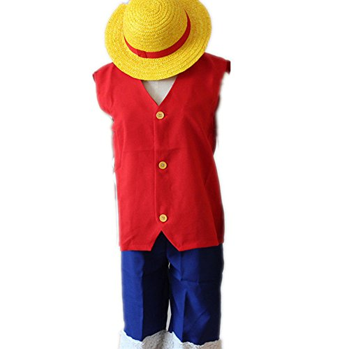 COSFLY Cartoon ONE Piece Luffy Cosplay Costume with hat Outfits Uniform Full Set (Large)]()