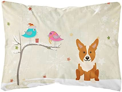 Caroline's Treasures BB2572PW1216 Between Friends Corgi Canvas Fabric Decorative Pillow