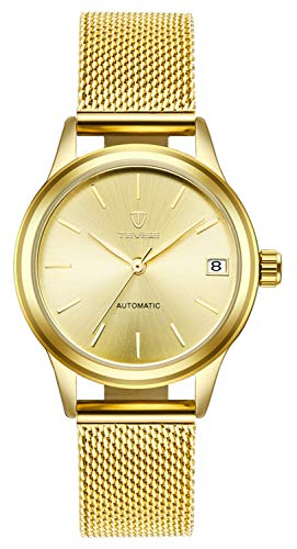 - Luxury Brand Women Automatic Mechanical Bracelet Watch Ladies Waterproof Steel Dress Wrist Watches (Gold)