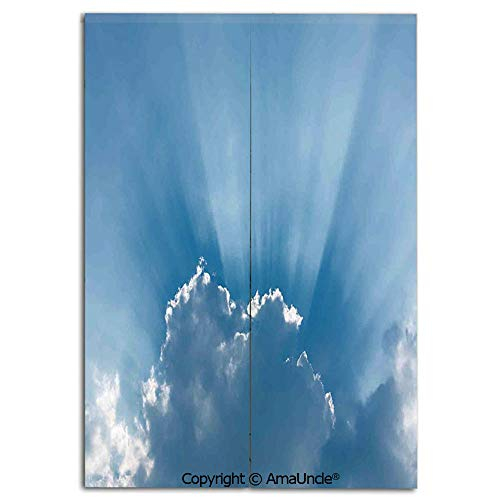 Customized Doorway Curtain to Keep Privacy,Sunburst Silver Lining View Fluffy Clouds in the Summer Sky Nature Picture Decorative(33.5x59 Inches),Room Divider Curtain,Family Half Curtain for Home Decor
