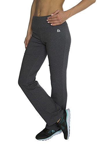 RBX Active womens Traditional Cotton Boot Cut Yoga Pant,Charcoal,Small