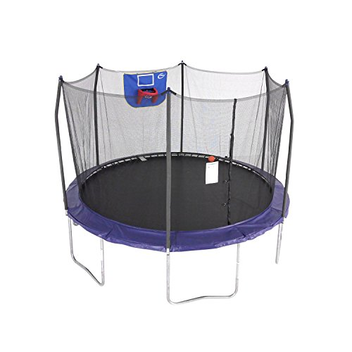 Mini Vinyl Basketball - Skywalker Trampolines 12-Foot Jump N' Dunk Trampoline with Enclosure Net - Basketball Trampoline