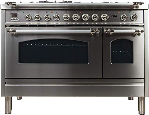 Ilve UPN120FDMPIX Nostalgie Series 48 Inch Dual Fuel Convection Freestanding Range, 7 Sealed Brass Burners, 5 cu.ft. Total Oven Capacity in Stainless Steel, Chrome Trim (Natural Gas)