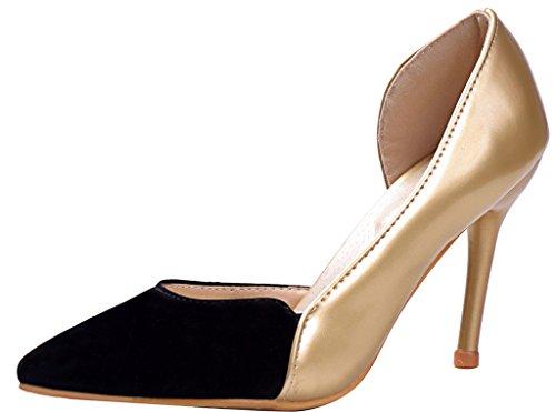 Calaier Damen Jtabg 9CM Stiletto Schlüpfen Pumps Schuhe Gold