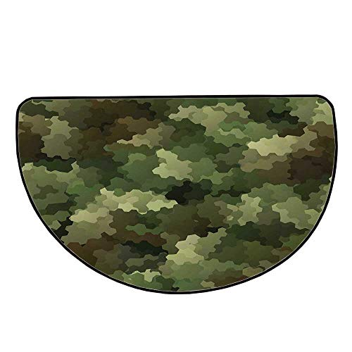 """Camo Comfortable Semicircle Mat,Frosted Glass Effect Hexagonal Abstract Being Invisible Woodland Army for Living Room,25.9"""" H x 51.1"""" L"""