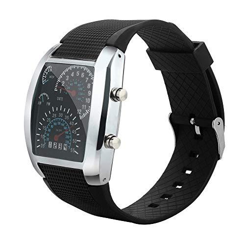 (Hongxin ❤ Men's Fashion LED Light Flash Turbo Speedometer Sports Car Dial Meter Watch (Black))