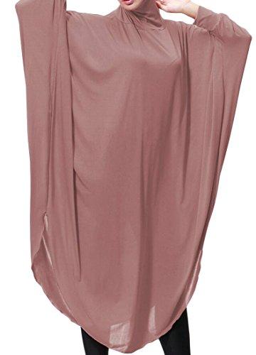 Domple Femmes Manches Batwing Mode Pull À Capuche Islamic Musulman Abaya Rose Robe Longue