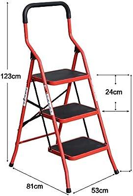 HIGHKAS Escalera Plegable Taburete de pie portátil para Adultos y niños/ Escalera de Mano/Bastidor de Almacenamiento/Soporte de Flores (Color: Rojo, Tamaño: 3 Niveles): Amazon.es: Hogar