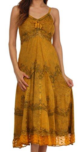 Sakkas Stonewashed Rayon Embroidered Adjustable Spaghetti Straps Long Dress