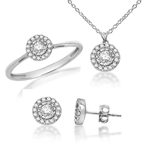 1/2ct Natural Diamond 925 Sterling Silver Ring Earrings Pendant Jewelry Set For Women (Jewellery (Omega Diamond Ring)