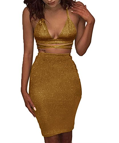 Doramode Sparkling Halter Plunge V Neck Backless Stretch Short Bodycon Pencil Skirt Satin Two-Piece Club Outfits Casual Dress For Lady Dark Gold Small (Silk Skirt Dress Short)