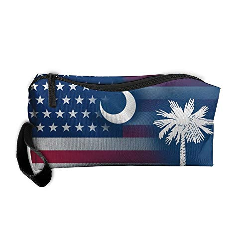 USA South Carolina State Flag Portable Handbag Storage Pouch Toiletry Bag Case Accessories Organizer Healthcare Kit Grooming Cosmetics Travel Make-up Bag with Zipper