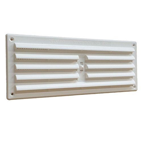 White Plastic Adustable Hit & Miss Louvre Air Vent & Flyscreen 9 x 3 by Timloc
