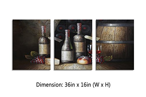 Grapes Metal Wine Bottle (YPY Kitchen Wall Art Canvas Artwork Vintage Style Grapes Wine Bottle Canvas Painting Material Wooden Framed 3 Panels Canvas Art for Dining Room Wall Decor)