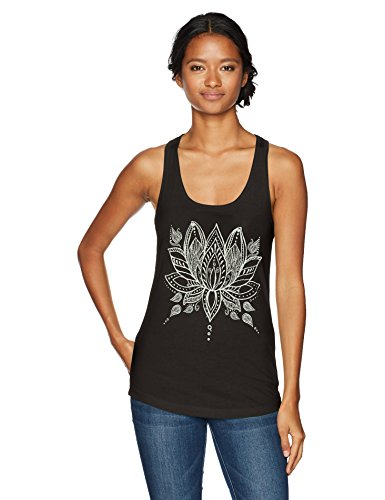 Chin-Up Women's Henna Lotus Flower Ideal Racerback Graphic Tank Top, Black, - Flower Tank