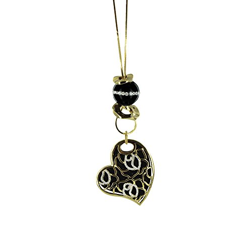 [Twinkle Metal Deluxe Necklace - Opera Offset Heart w/Crystals (Gold Tone)] (Homemade Queen Of Hearts Costume Ideas)